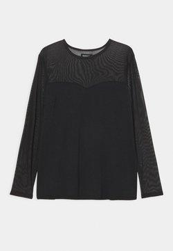 Even&Odd Curvy - MESH INSERT TOP - Pitkähihainen paita - black