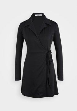 Glamorous Petite - COLLARED RIB WRAP MINI DRESS - Vestido informal - navy