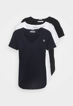 Abercrombie & Fitch - VNECK 3 PACK - T-Shirt basic - black/white/navy