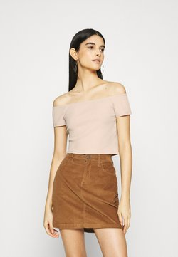 NA-KD - OFF SHOULDER SHORT SLEEVE TOP - T-Shirt basic - beige