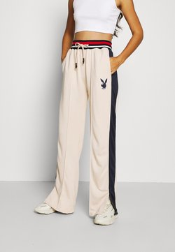 Missguided - PLAYBOY VARSITY WIDE LEG TRICOT PANTS - Jogginghose - stone