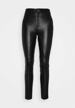 Object - OBJMASE PANT - Pantalon en cuir - black