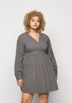 Missguided Plus - LONG PUFF SLEEVE WRAP DRESS - Kjole - washed black