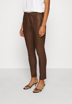 DEPECHE - PANT - Leather trousers - tobacco
