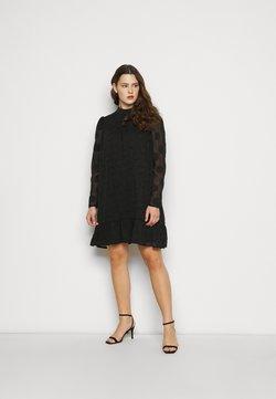Missguided Plus - HIGH NECK FRILL HEM DRESS - Freizeitkleid - black