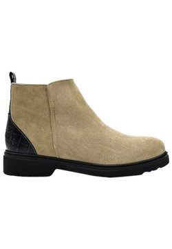 Fertini - Ankle Boot - beige suede with black croco detail