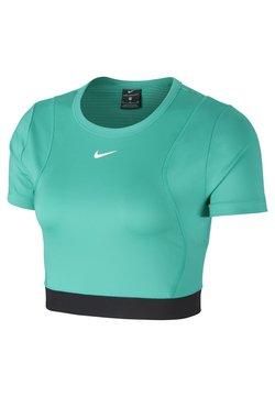 Nike Performance - AEROADPT CROP TOP - T-Shirt print - neptune green/black/metallic silver