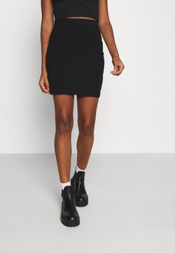 Even&Odd - Basic mini ribbed skirt - Gonna a tubino - black