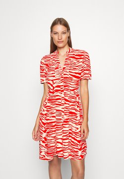 Calvin Klein - ZEBRA PRINT WAISTED BUTTON THROUGH DRESS - Blusenkleid - oddyssey
