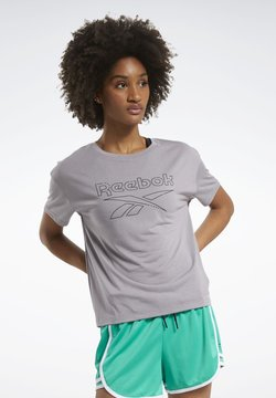 Reebok - WORKOUT READY SUPREMIUM SLIM FIT BIG LOGO T-SHIRT - Printtipaita - grey
