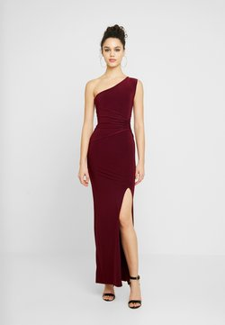 Club L London - ONE SHOULDER RUCHED WAIST MAXI DRESS WITH THIGH SPLIT - Occasion wear - wine