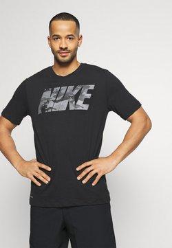 Nike Performance - DRY TEE BLOCK - Printtipaita - black/smoke grey