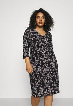 Lauren Ralph Lauren Woman - CLEORA LONG SLEEVE DAY DRESS - Jerseykleid - black/colonial cream