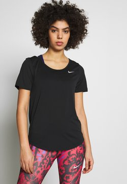 Nike Performance - W NK TOP SS RUNWAY - T-shirt con stampa - black/reflective silver