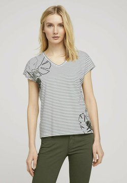 TOM TAILOR - T-Shirt print - offwhite khaki stripe