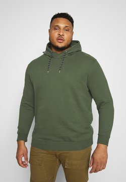 TOM TAILOR MEN PLUS - HOODIE WITH PRINT - Sweat à capuche - olive night green