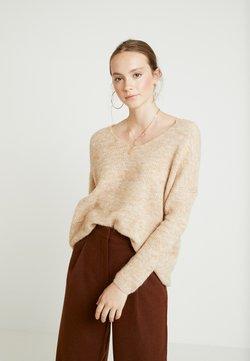 ONLY - ONLHANNA MAYE V NECK - Sweter - sand/melange