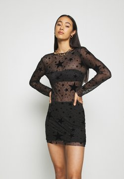 Missguided - HALLOWEEN STAR FLOCKED BODYCON DRESS - Etuikleid - black