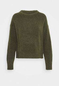 Even&Odd - BASIC- SHORT JUMPER - Strikkegenser - khaki