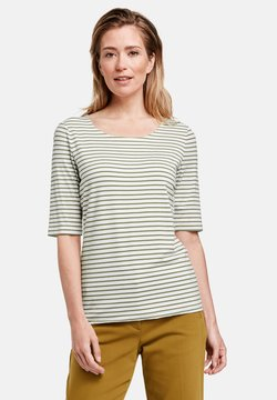 Gerry Weber - 1/2 ARM GERINGELTES - T-Shirt print - grün/ecru/weiss streifen