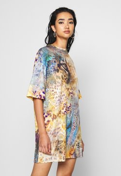 Jaded London - OVERSIZED T-SHIRT DRESS - LEOPARD ROSES MASH UP PRINT - Jerseykleid - multi-coloured
