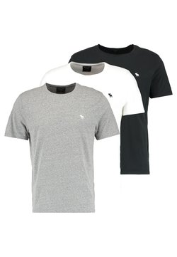 Abercrombie & Fitch - 3 PACK - Basic T-shirt - white/grey/black