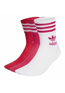 adidas Originals - MID CUT CREW NECK SOCKS ADICOLOR - Socken - white/bold pink/bold red