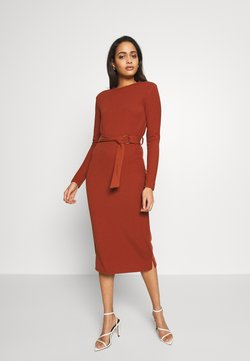 Glamorous - LONG SLEEVE BELTED DRESS - Jerseykjole - rust