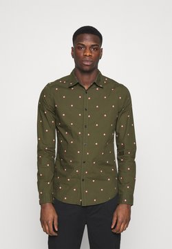 Scotch & Soda - SLIM FIT WITH ALL OVER PRINT - Hemd - dark green/light pink