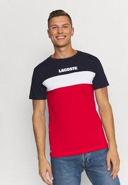 Lacoste - T-shirt imprimé - marine/rouge