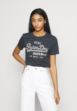 Superdry - STITCH ENTRY TEE - T-shirts print - eclipse navy marl
