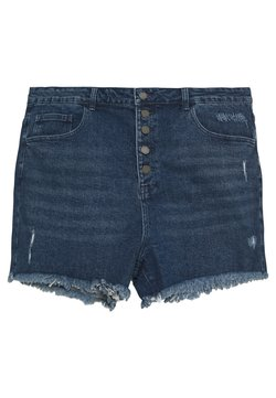 Lost Ink Plus - BUTTON FRONT MOM - Jeansshort - light denim