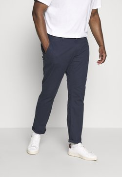 TOM TAILOR MEN PLUS - WASHED STRUCTURE CHINO - Pantalon classique - navy yarn dye structure