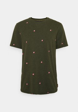 Scotch & Soda - WITH SMALL PRINT - T-Shirt print - dark green/light pink