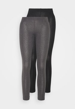 Even&Odd Petite - 2 PACK  - Legging - black/mottled dark grey