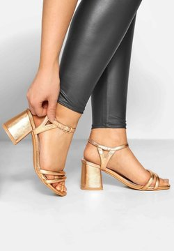 Yours Clothing - GOLD DOUBLE STRAP IN EXTRA WID - High Heel Sandalette - gold