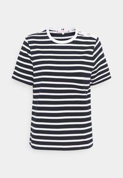 Tommy Hilfiger - REGULAR BUTTON - T-Shirt print - blue, white