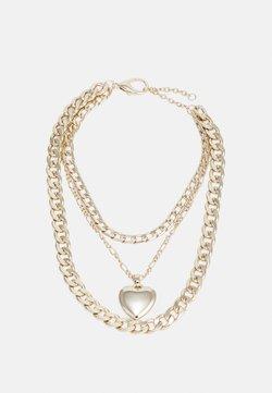 Topshop - CHUB HEART CHUNKY MULTIROW - Halskette - gold-coloured