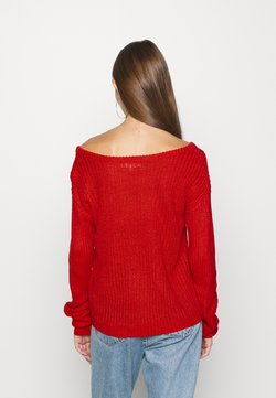 Missguided - OPHELITA OFF SHOULDER JUMPER - Jersey de punto - red