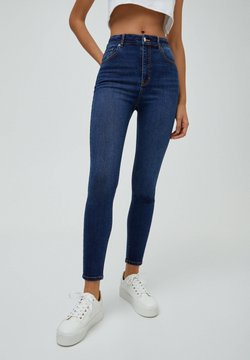 PULL&BEAR - MIT HOHEM BUND - Jeans Skinny Fit - mottled blue