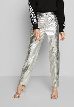 KARL LAGERFELD - METALLIC LEATHER PANTS - Pantalon en cuir - silver