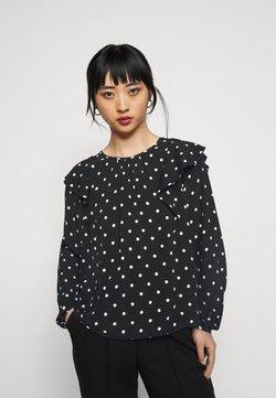 GAP Petite - RUFFEL SHOULDER - Bluse - black