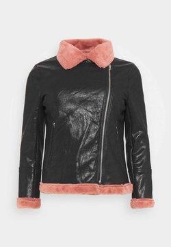 Glamorous Curve - BIKER JACKET WITH LONG SLEEVES - Kunstlederjacke - black/pink