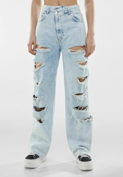 Bershka - MIT RISSEN  - Jeans relaxed fit - light blue