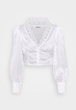 Glamorous - LONG SLEEVE LOW V-NECK BLOUSE - Blouse - white