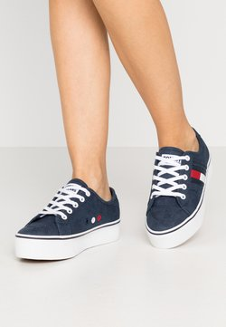 Tommy Jeans - FLATFORM FLAG  - Sneakers laag - twilight navy