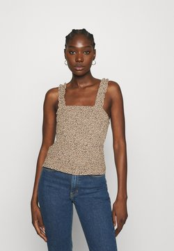 Abercrombie & Fitch - SMOCK WAIST CAMI - Bluse - brown