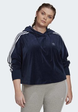 adidas Originals - VELOUR CROPPED HOODIE (PLUS SIZE) - Huppari - blue