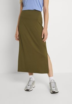 Even&Odd - BASIC Midaxi skirt - Gonna lunga - khaki