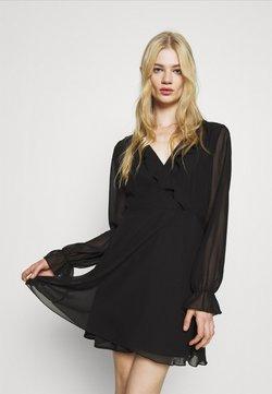NA-KD - WRAPPED RUFFLE DRESS - Korte jurk - black